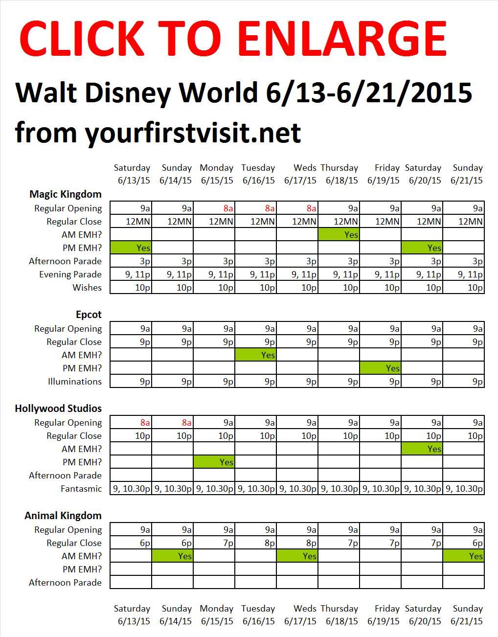 Disney World 6-13 to 6-21-2015 from yourfirstvisit.net