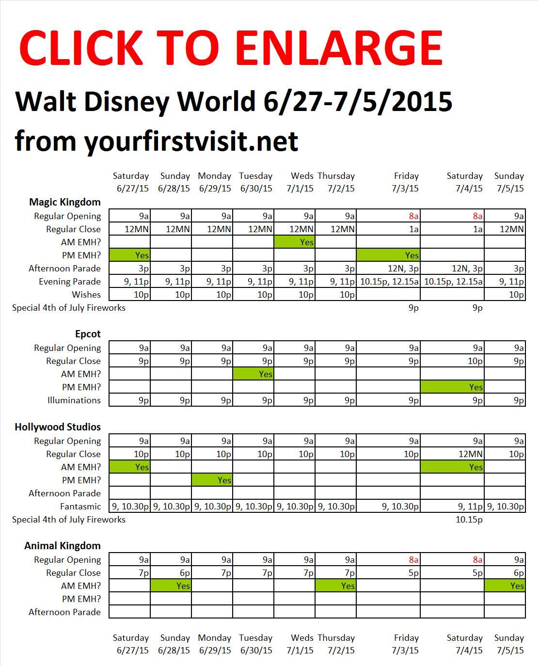 Disney World 6-27 to 7-5-2015 from yourfirstvisit.net