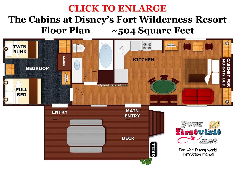 Floor Plan The Cabins at Disney's Fort Wilderness Resort from yourfirstvisit.net