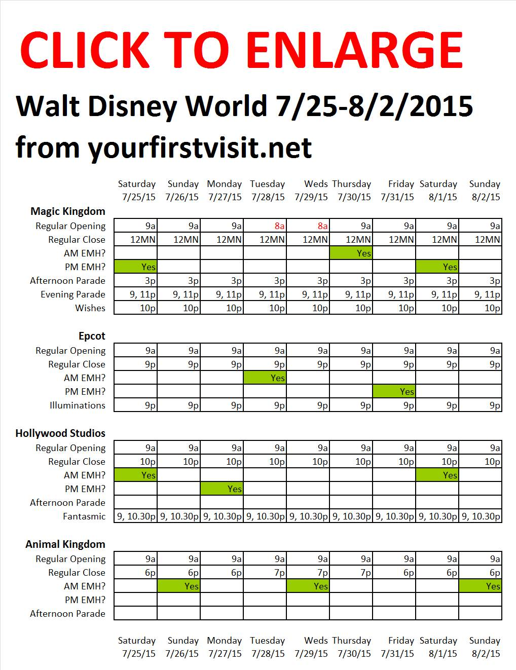 Disney World 7-25 to 8-2-2015 from yourfirstvisit.net