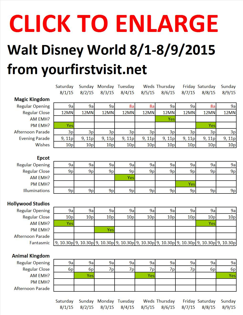 Disney World 8-1 to 8-9-2015 from yourfirstvisit.net