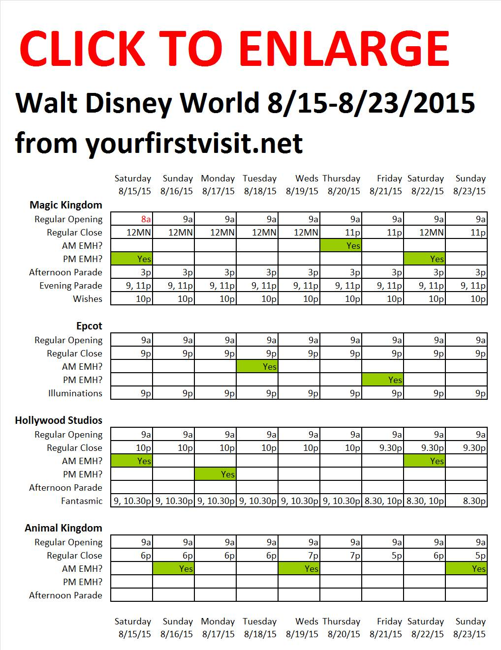 Disney World 8-15 to 8-23-2015 from yourfirstvisit.net