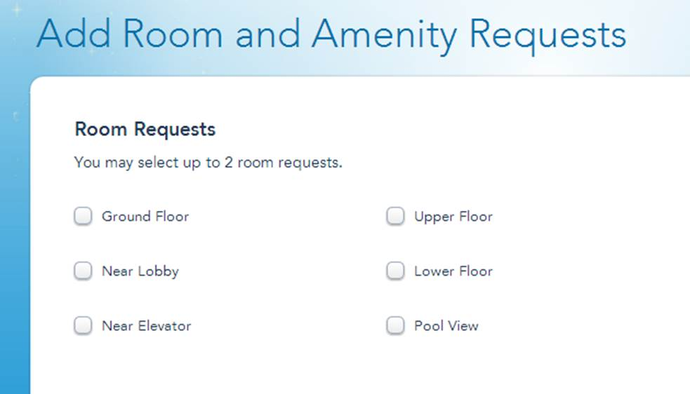 Disney's BoardWalk Villas Room Request Form