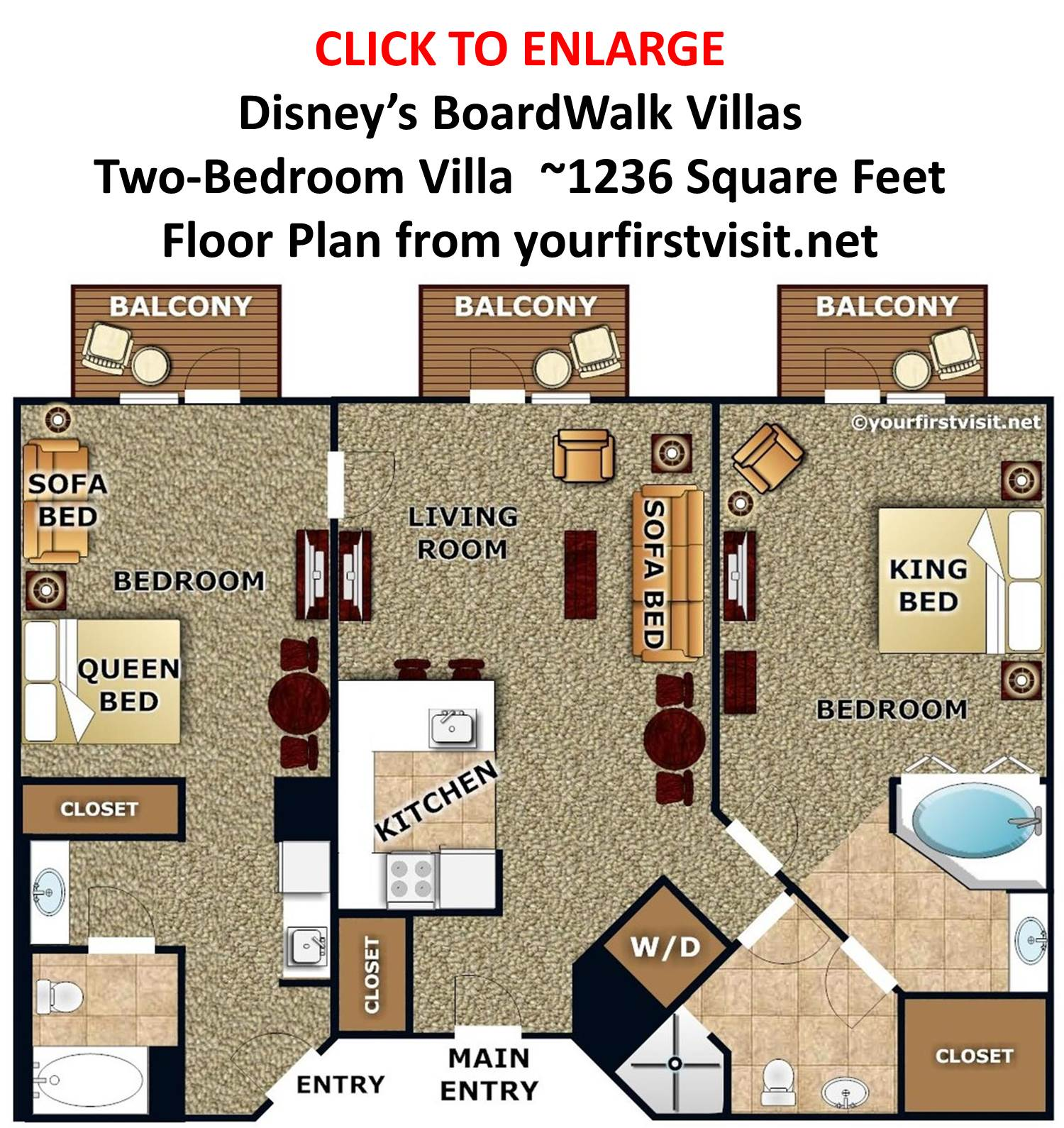 Disney's BoardWalk Villas Two Bedroom Villa Floor Plan from yourfirstvisit.net