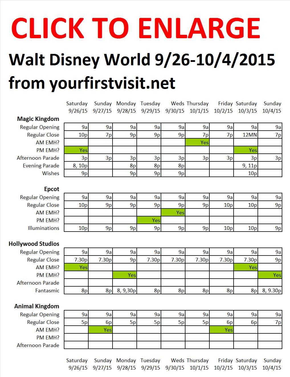 Disney World 9-26 to 10-4-2015 from yourfirstvisit.net