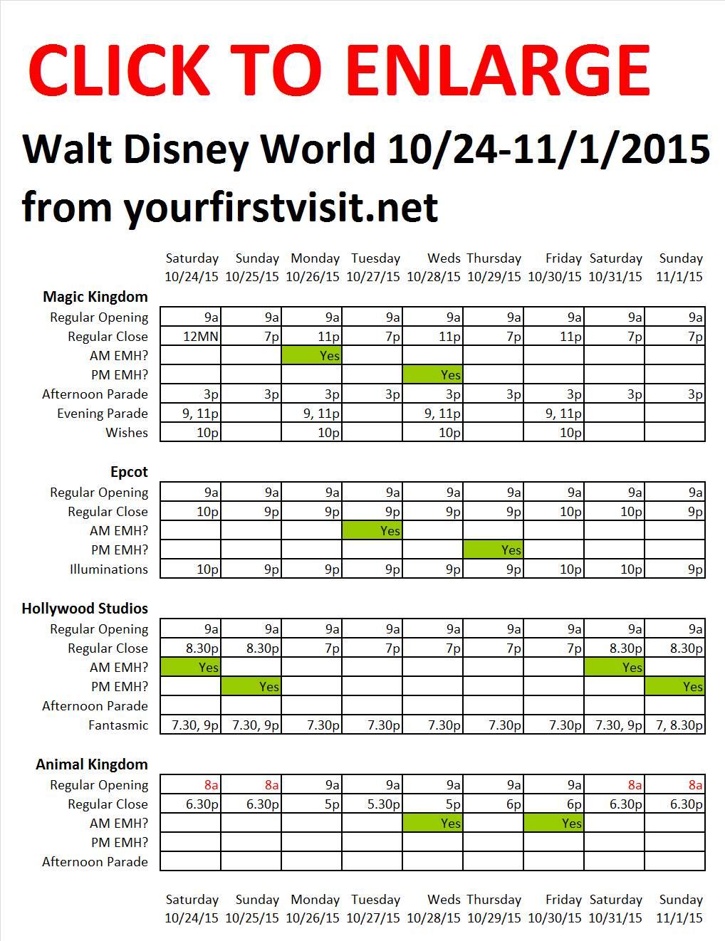 Disney World 10-24 to 11-1- 2015 from yourfirstvisit.net