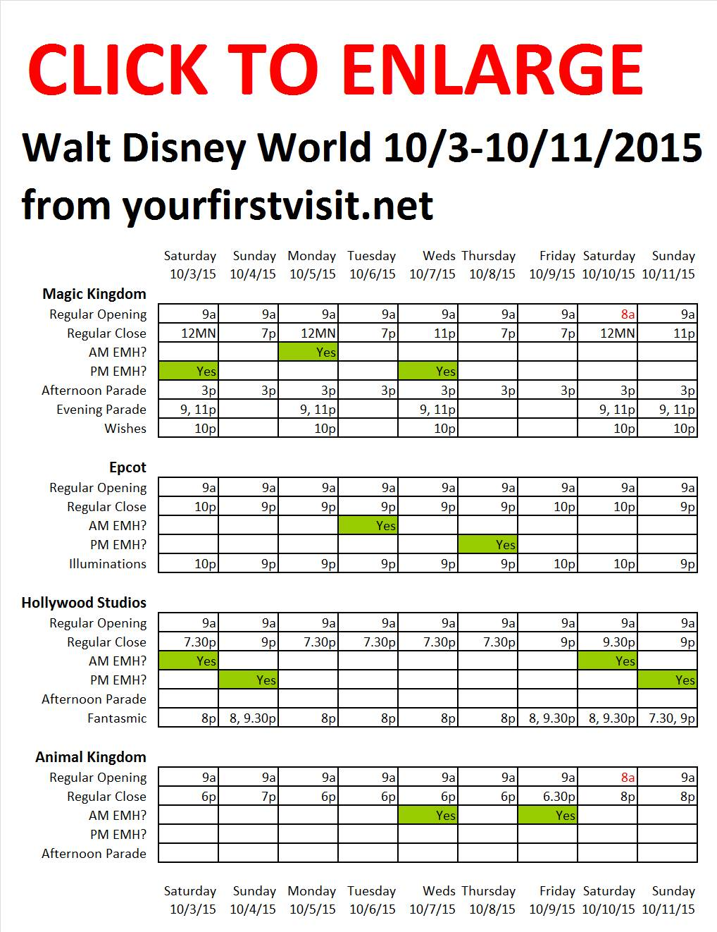 Disney World 10-3 to 10-11-2015 from yourfirstvisit.net