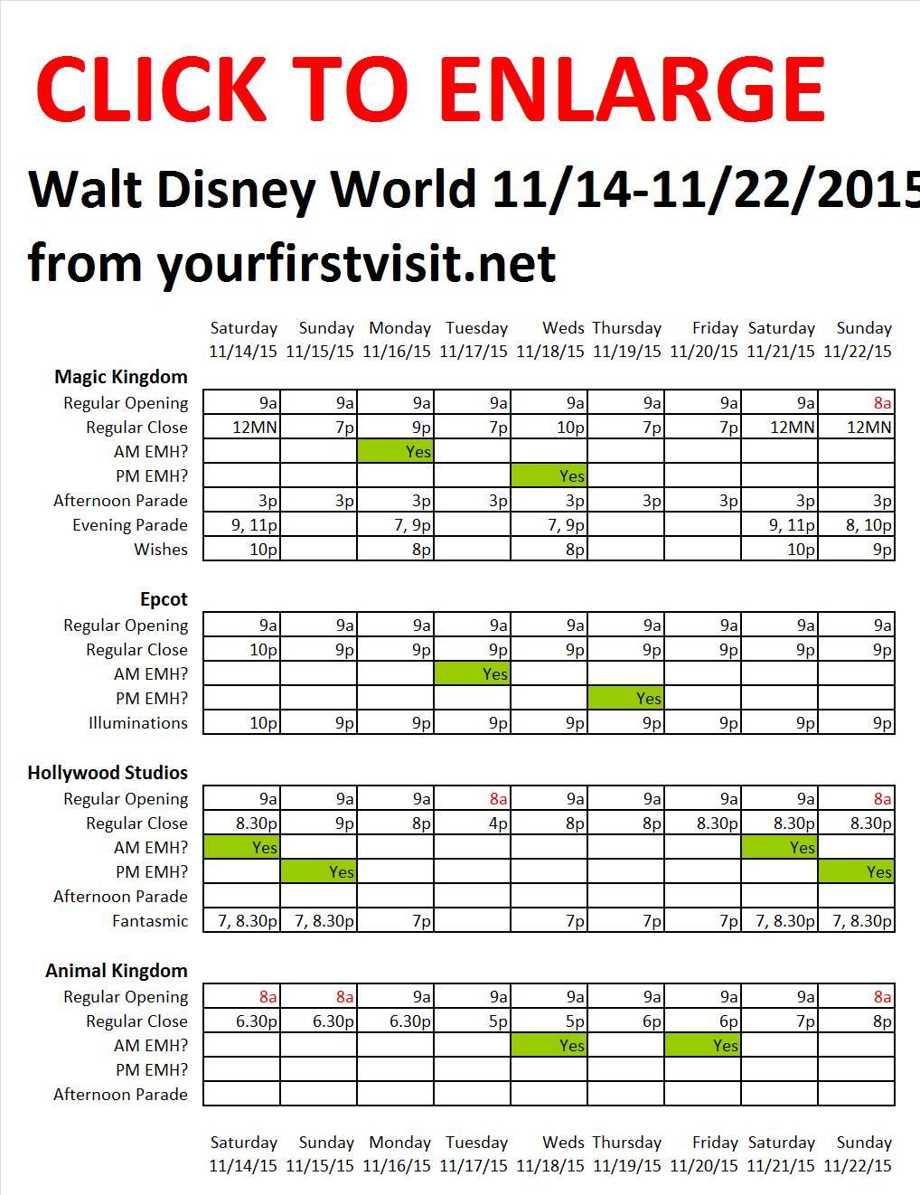 Disney World 11-14 to 11-22-2015 from yourfirstvisit.net