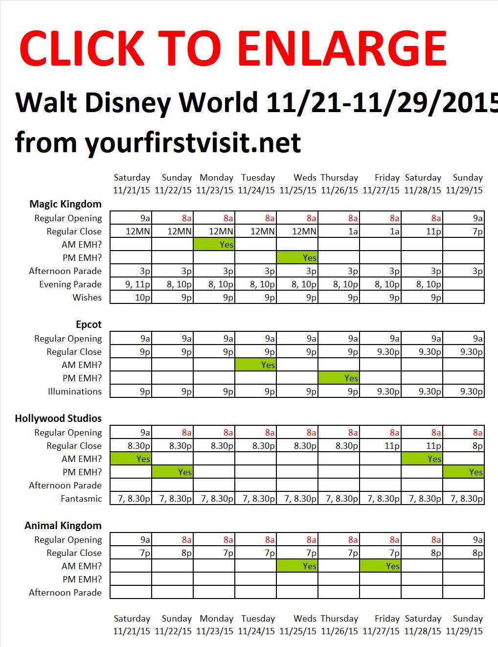 Disney World 11-21 to 11-29-2015 from yourfirstvisit.net