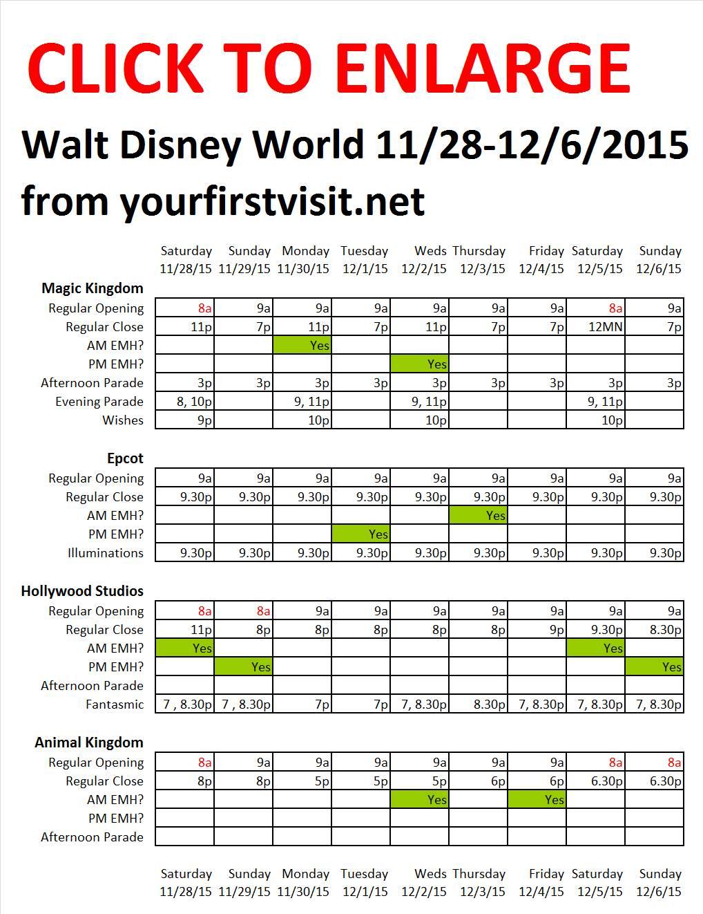 Disney World 11-28 to 12-6-2105 from yourfirstvisit.net