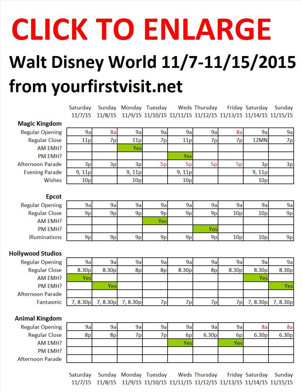 Disney World 11-7 to 11-15-2015 from yourfirstvisit.net