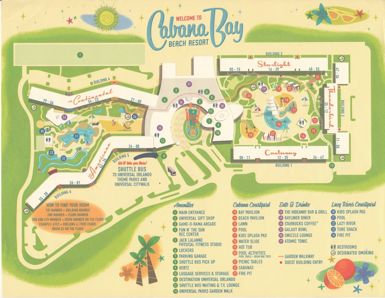 Map Cabana Bay Beach Resort from yourfirstvisit.net