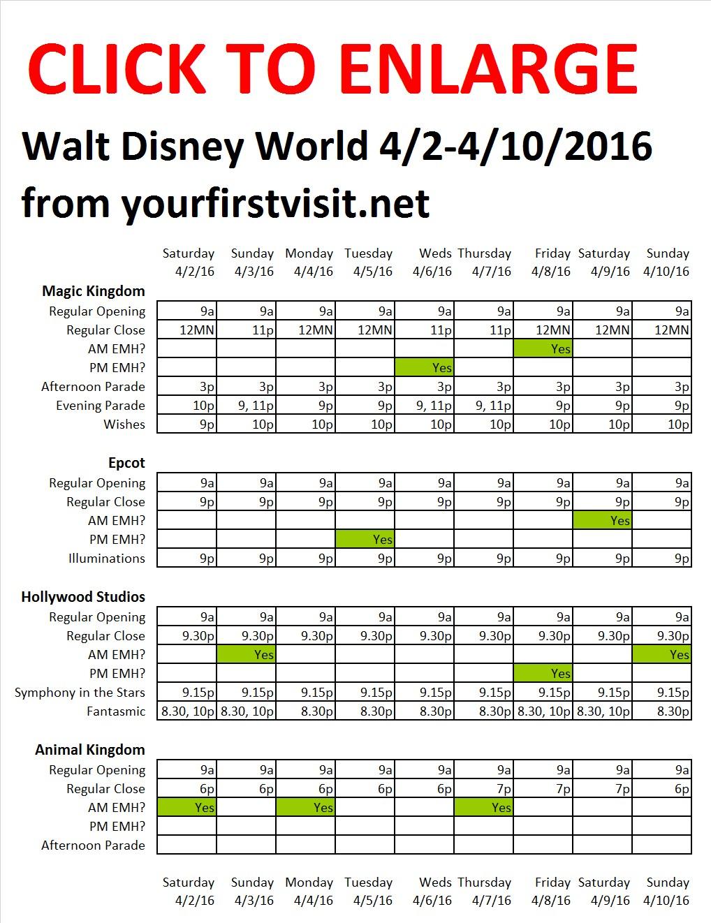 Disney World 4-2 to 4-10-2016 from yourfirstvisit.net