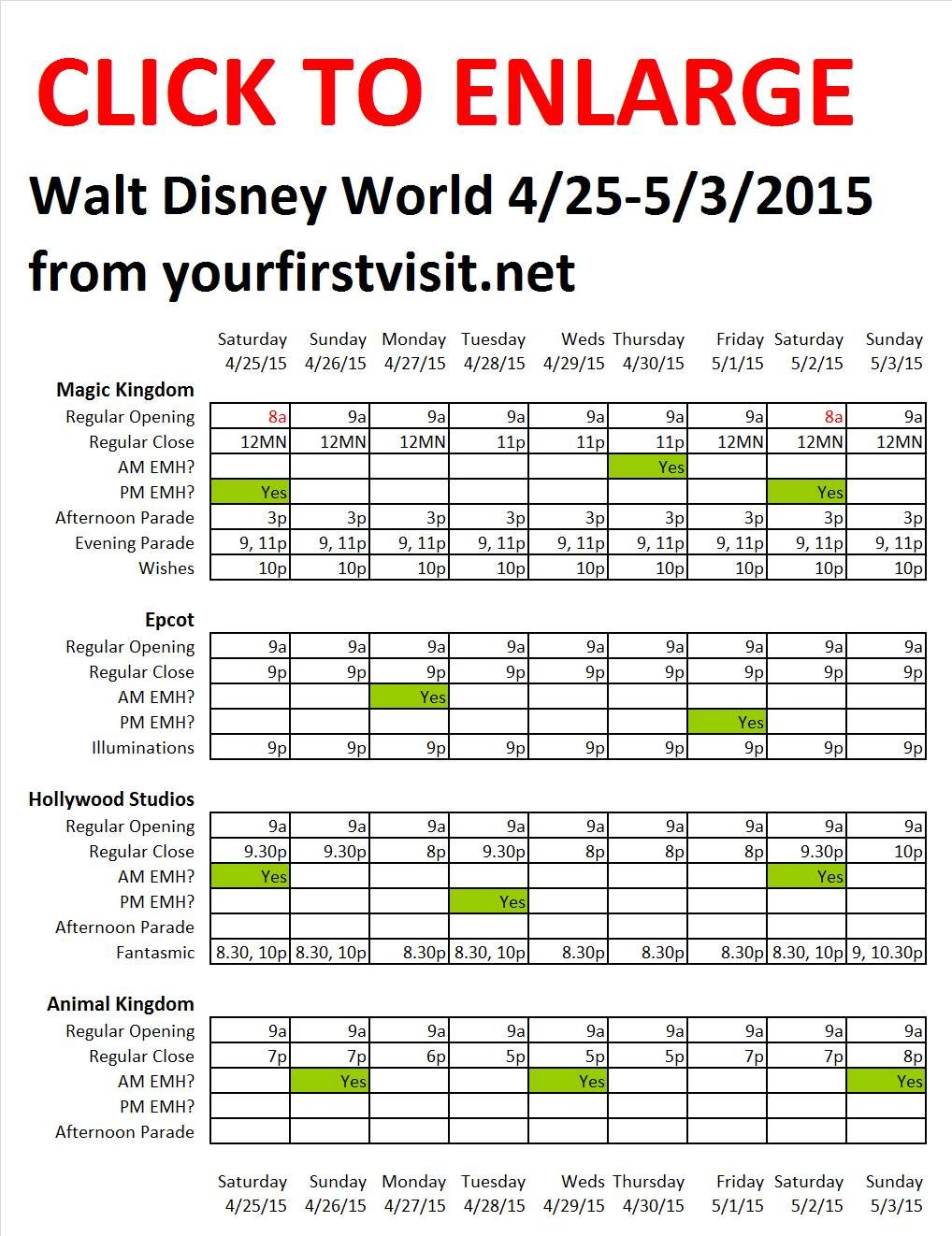 Disney World 4-25 to 5-3-2015 from yourfirstvisit.net