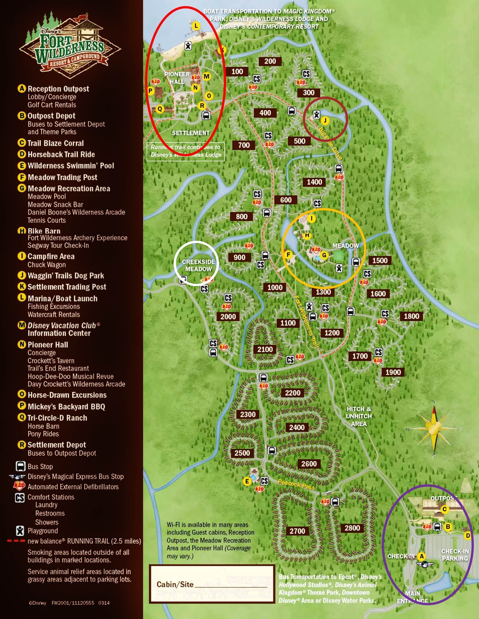 Annotated Map Disney's Fort Wilderness Resort from yourfirstvisit.net