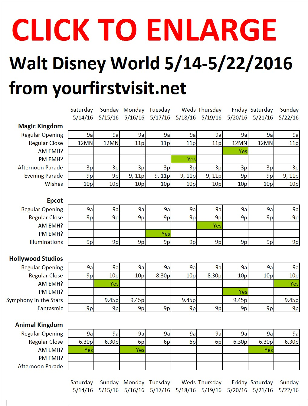 Disney World 5-14 to 5-22-2016 from yourfirstvisit.net