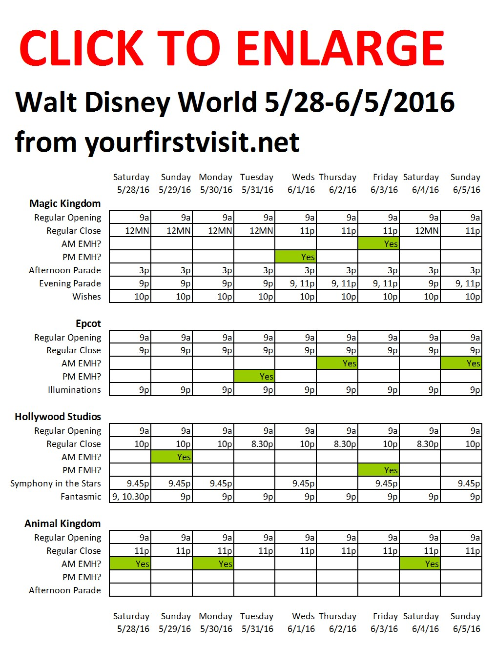 Disney World 5-28 to 6-5-2016 from yourfirstvisit.net