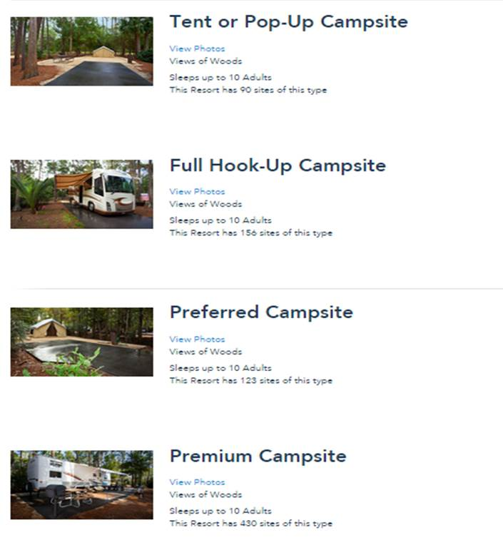 Four Campsite Types at Fort Wilderness