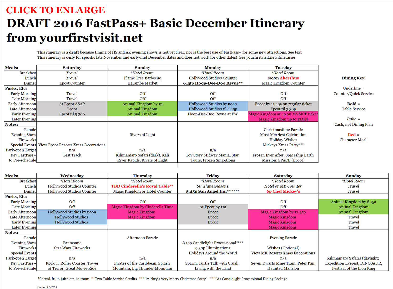 Basic December 2016 FastPass+ Itinerary v2 from yourfirstvisit.net