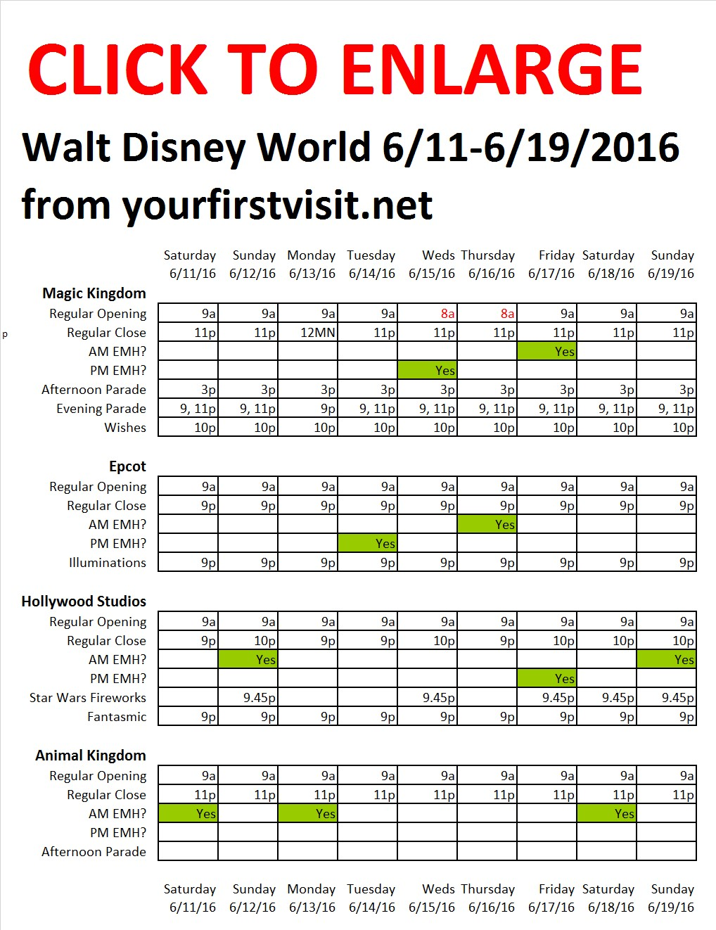 Disney World 6-11 to 6-19-2016 from yourfirstvisit.net
