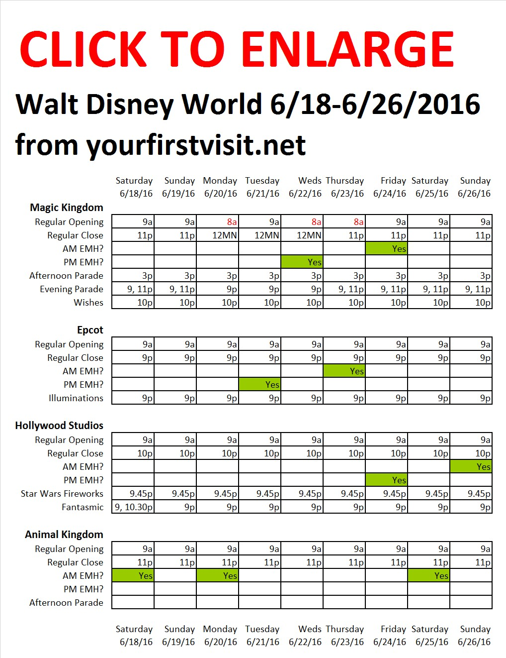 Disney World 6-18 to 6-26-2016 from yourfirstvisit.net