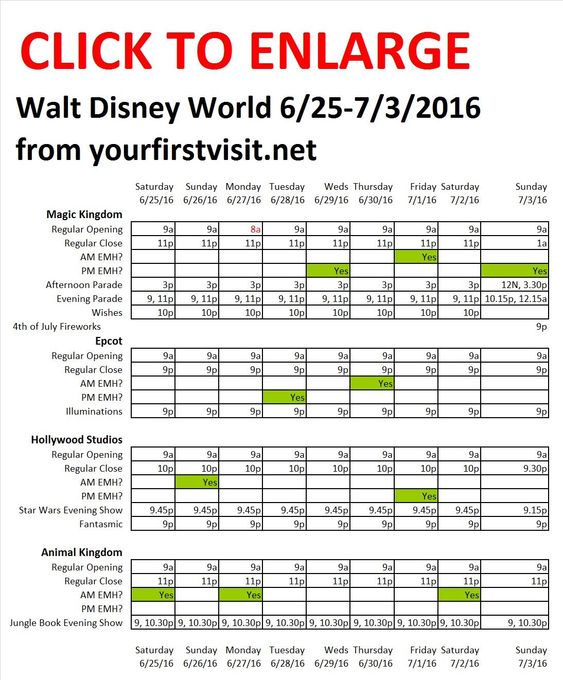 Disney World 6-25 to 7-3-2016 from yourfirstvisit.net