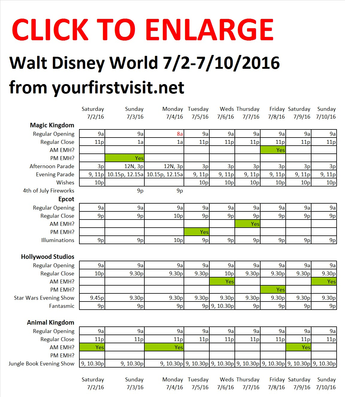 Disney World 7-2 to 7-10-2016 from yourfirstvisit.net