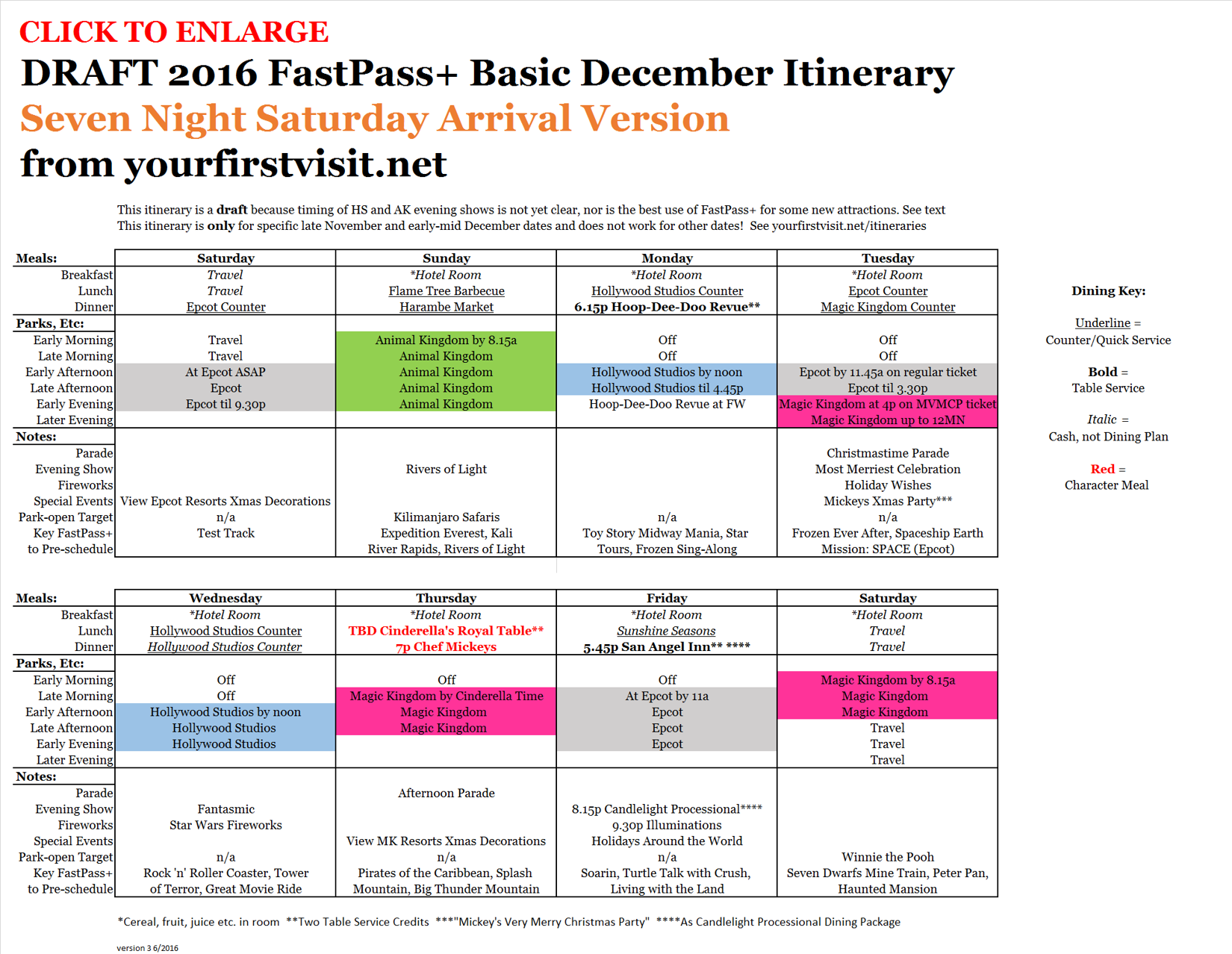 Seven Night  v3 Saturday Arrival Variant of Basic December 2016 FastPass+ Itinerary from yourfirstvisit.net