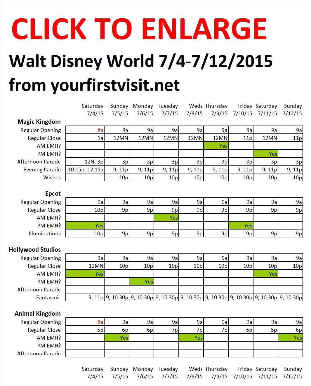 Disney World 7-4 to 7-12-2015 from yourfirstvisit.net