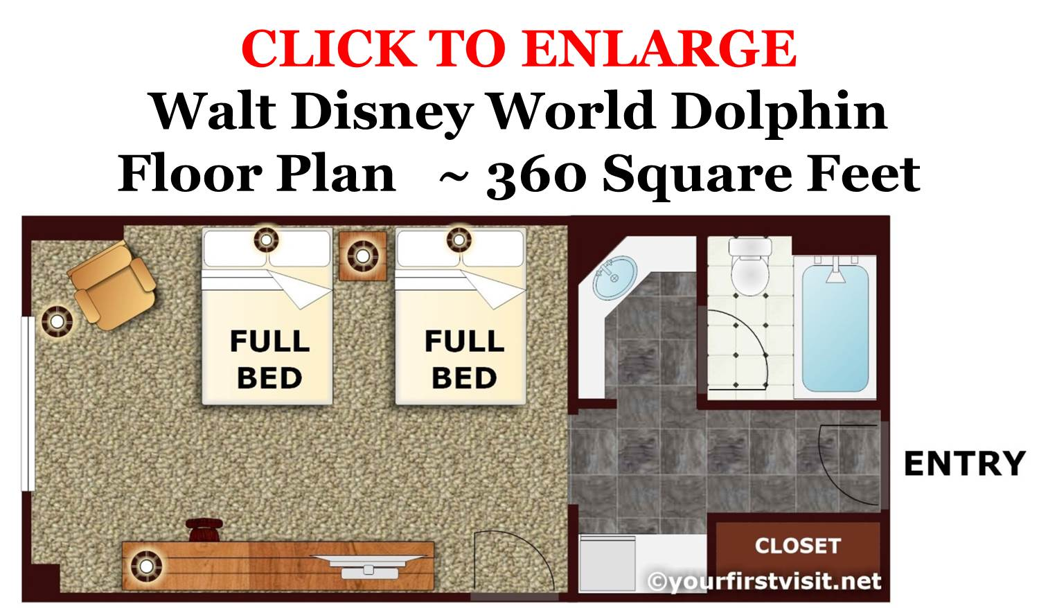 Floor Plan Disney World Dolphin Standard Full Bed Room from yourfirstvisit.net