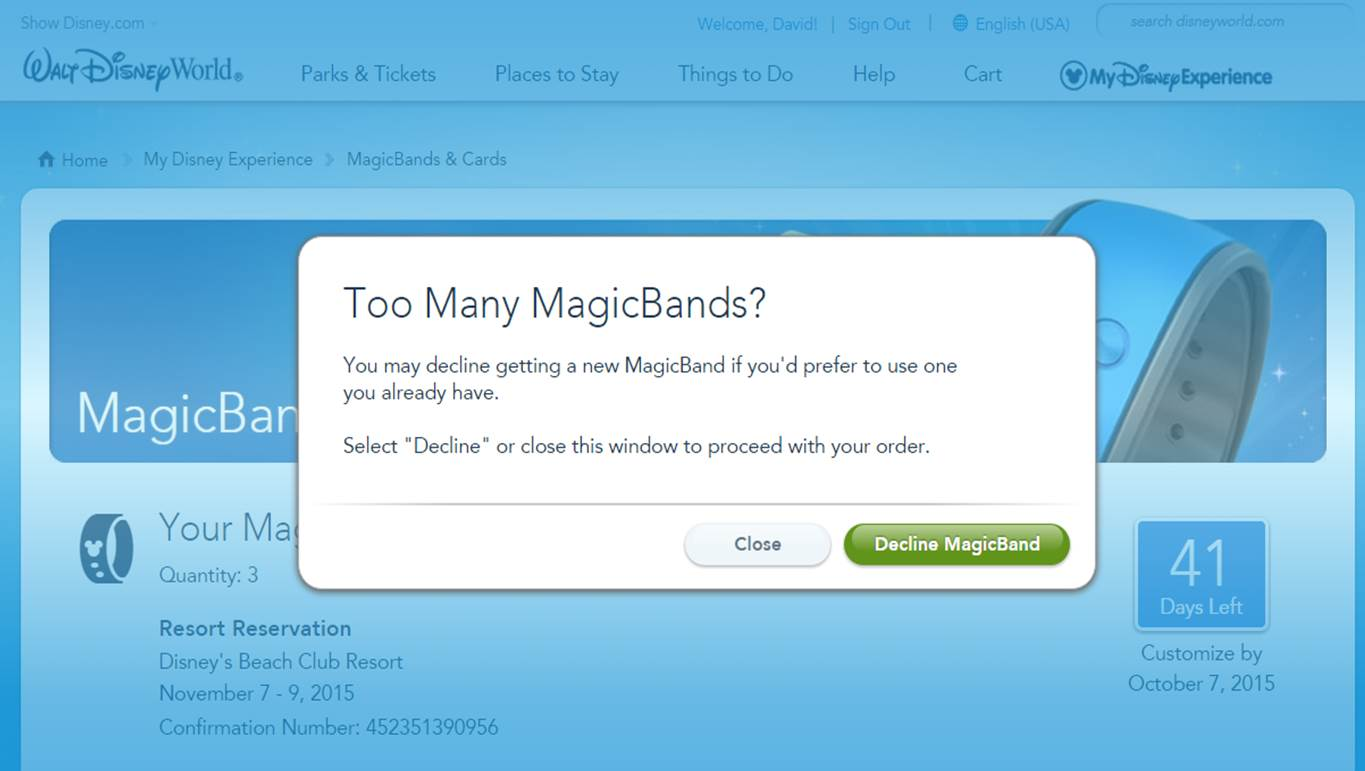 Declining a MagicBand Step 2 from yourfirstvisit.net