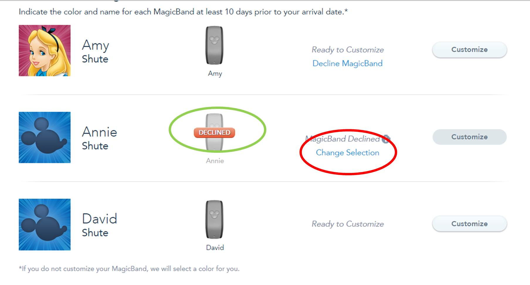 Declining a MagicBand Step 3 from yourfirstvisit.net