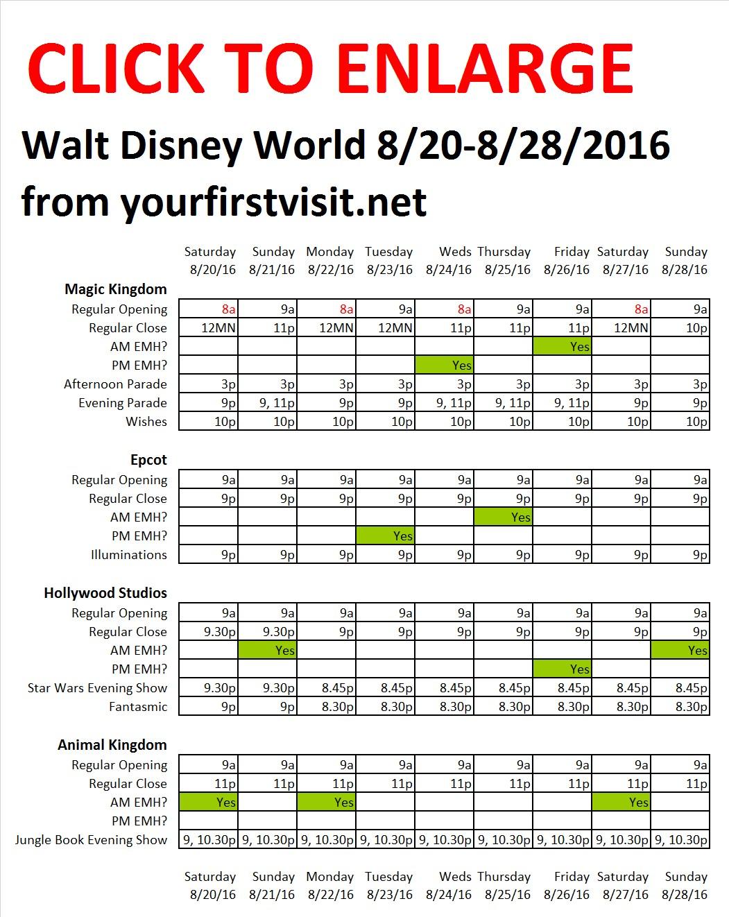 Disney World 8-20 to 8-28-2016 from yourfirstvisit.net