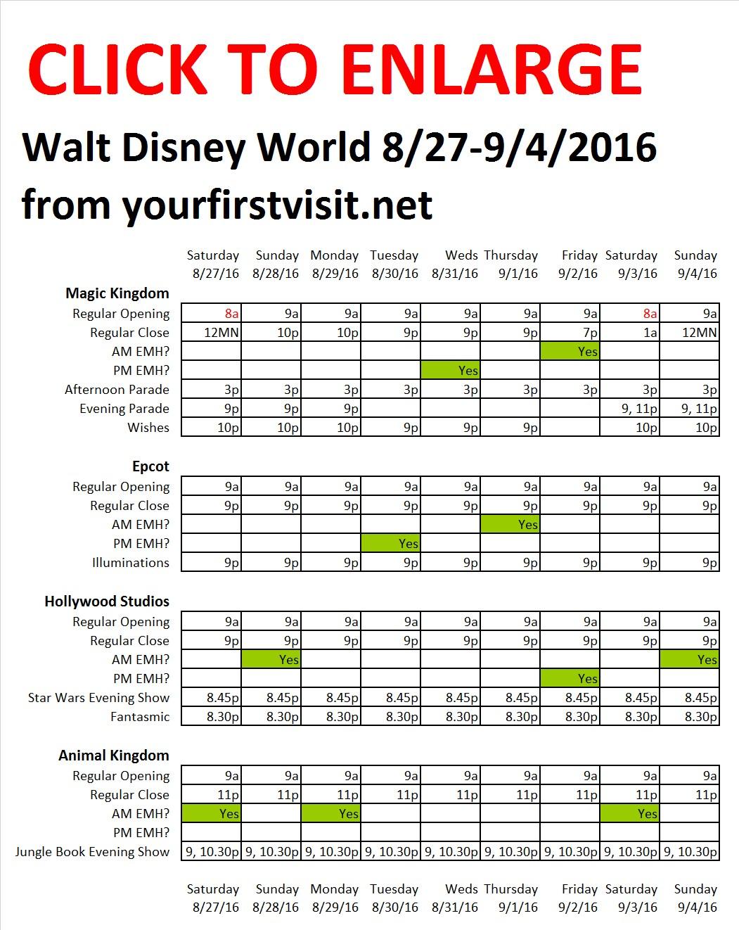 Disney World 8-27 to 9-4-2016 from yourfirstvisit.net
