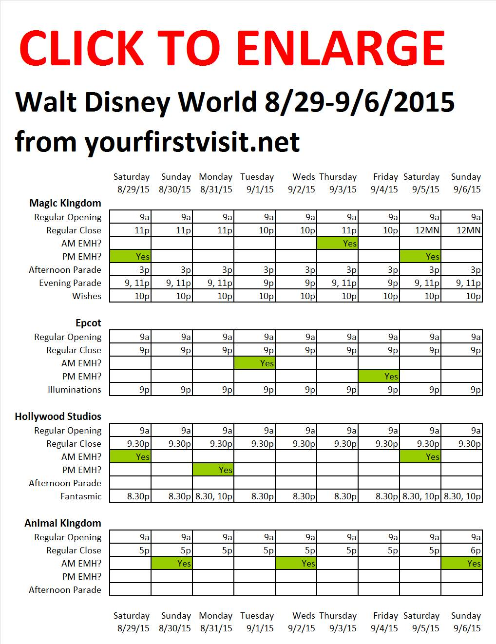 Disney World 8-29 to 9-6-2015 from yourfirstvisit.net