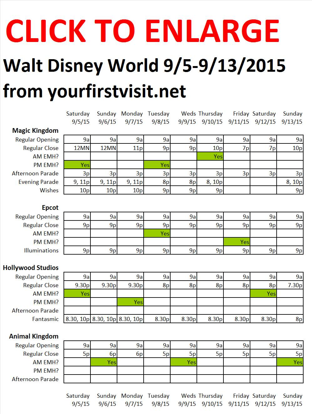 Disney World 9-5 to 9-13-2015 from yourfirstvisit.net