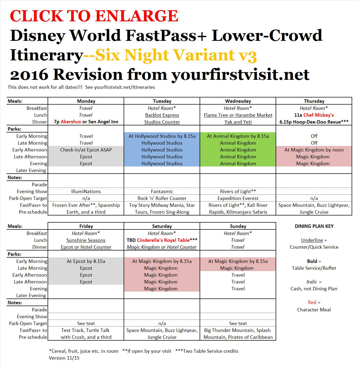 Disney World 2016 FastPass+ Lower Crowd Itinerary 6 Night Variant