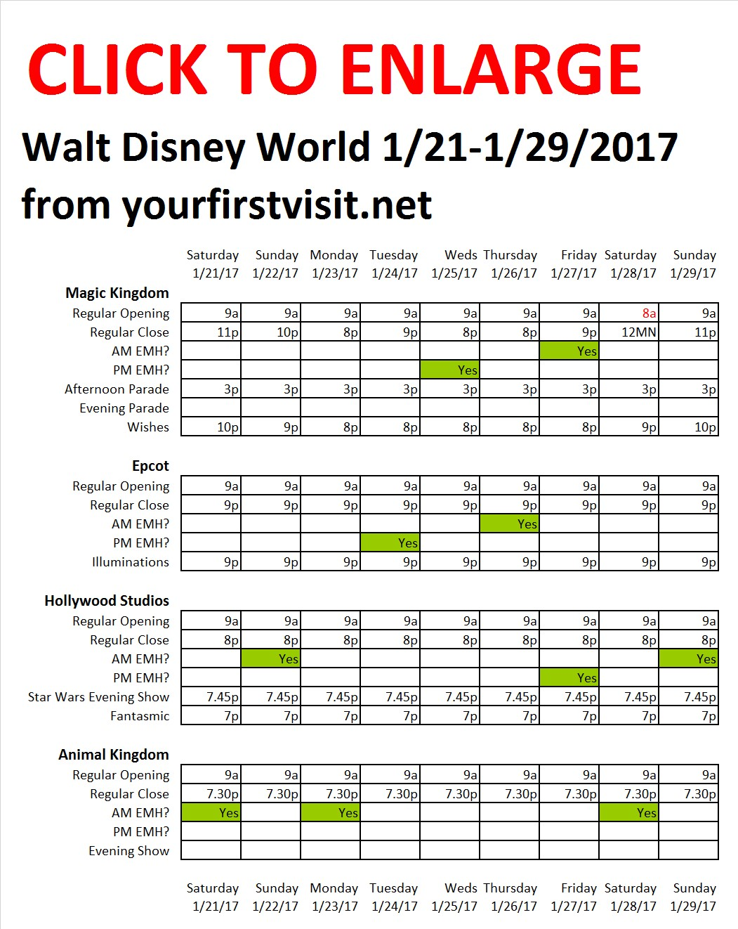 Disney World 1-21 to 1-29-2017 from yourfirstvisit..net