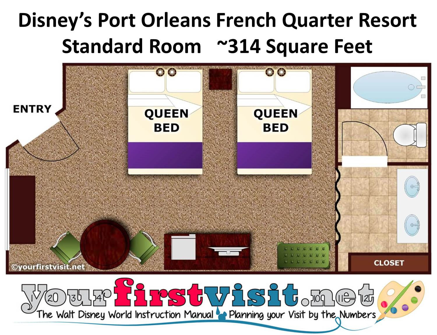 Disney's Port Orleans French Quarter Resort Floor Plan from yourfirstvisit.net