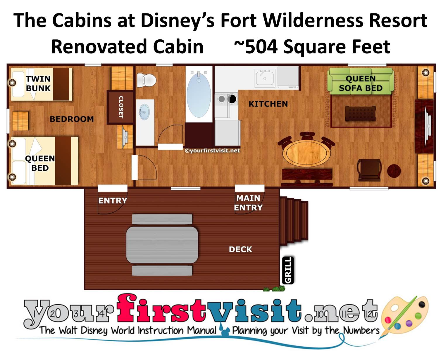 Floor Plan Renovated Cabins at Fort Wilderness from yourfirstvisit.net