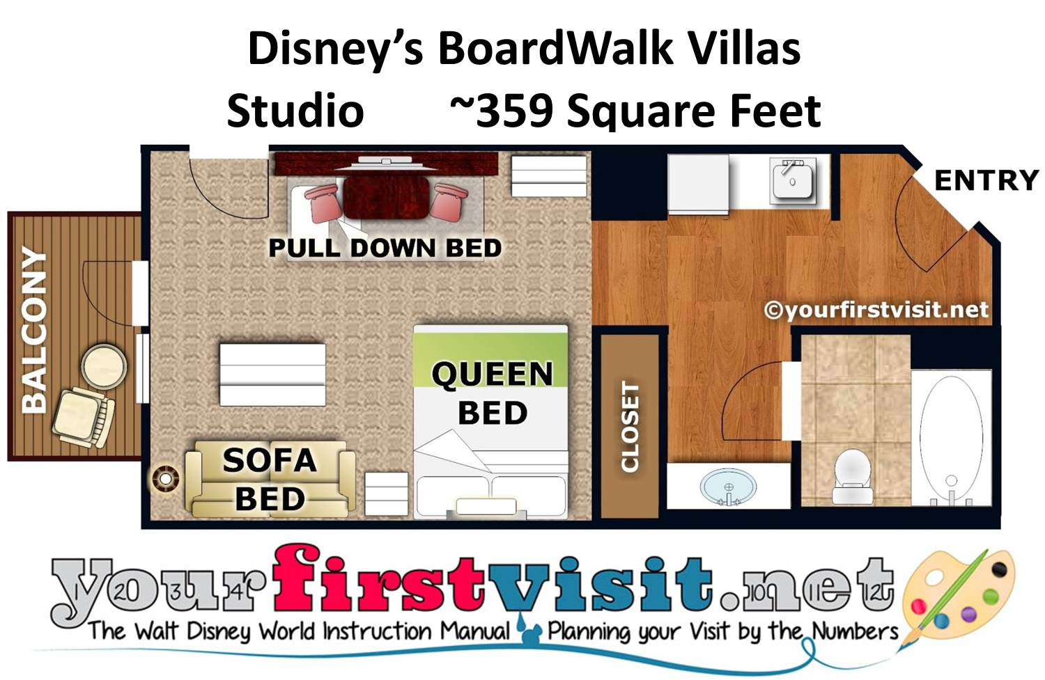 Floor Plan Studio Disney's BoardWalk Villas from yourfirstvisit.net
