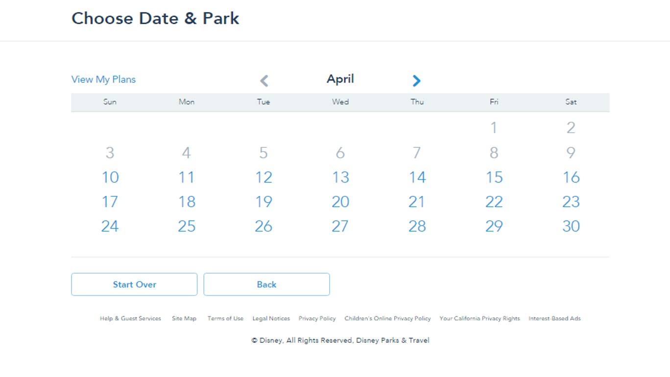 Dates for FastPass+ from yourfirstvisit.net