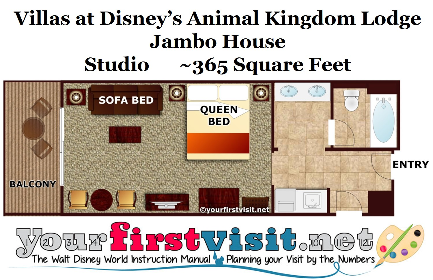 Photo tour of a studio at disney 39 s animal kingdom villas jambo house for Animal kingdom 2 bedroom villa floor plan