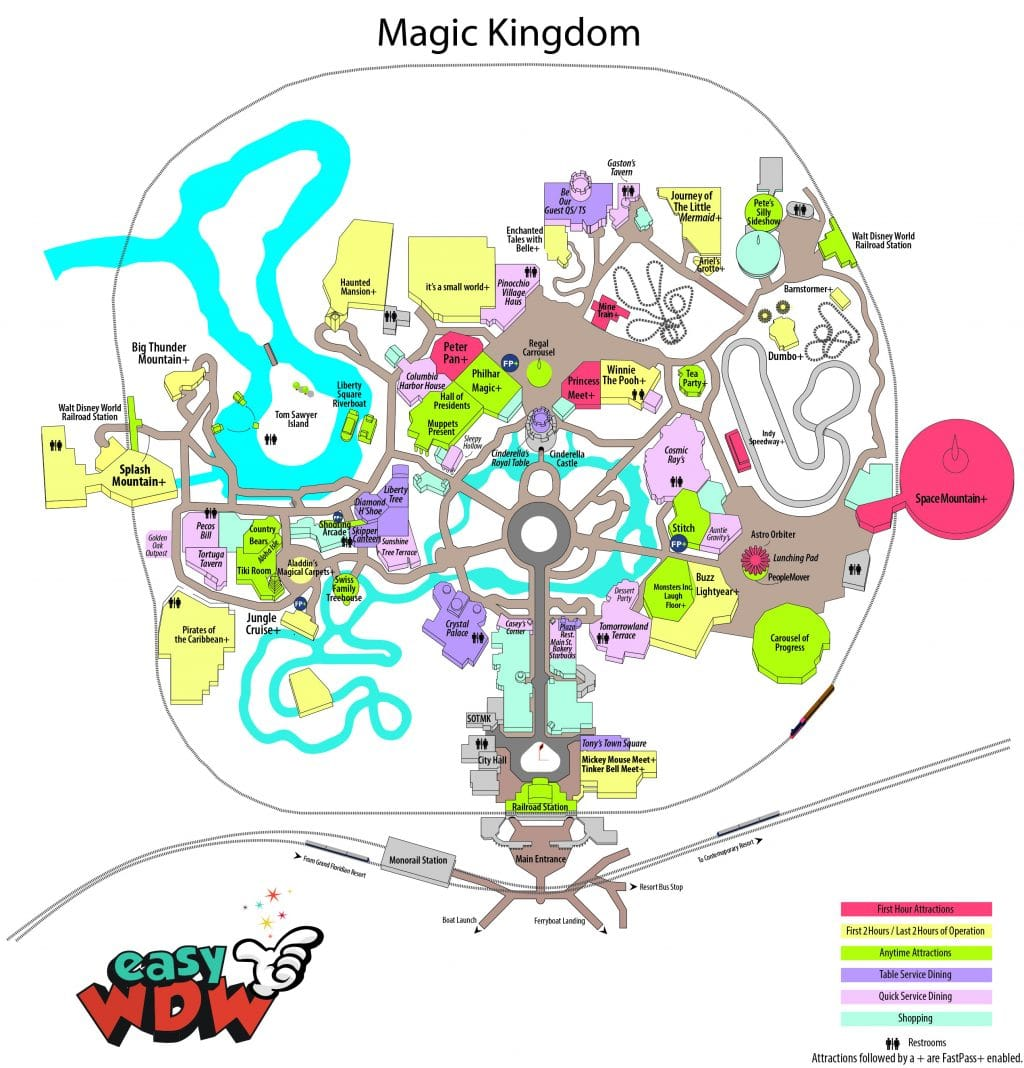 picture relating to Printable Magic Kingdom Map named uncomplicated expert easyWDW