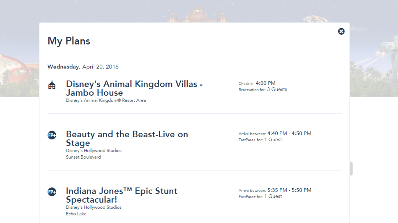 My Plans Page for FastPass+ from yourfirstvisit.net