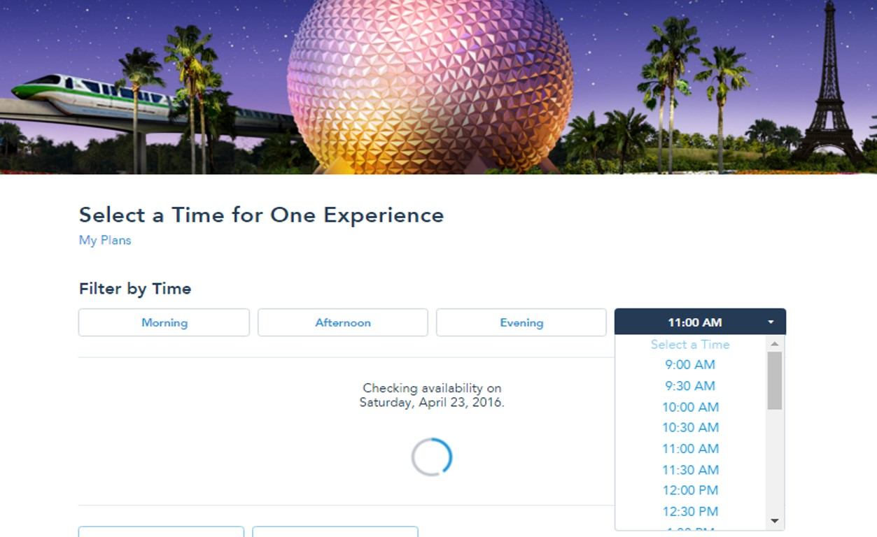 Select a Time for FastPass+ from yourfirstvisit.net