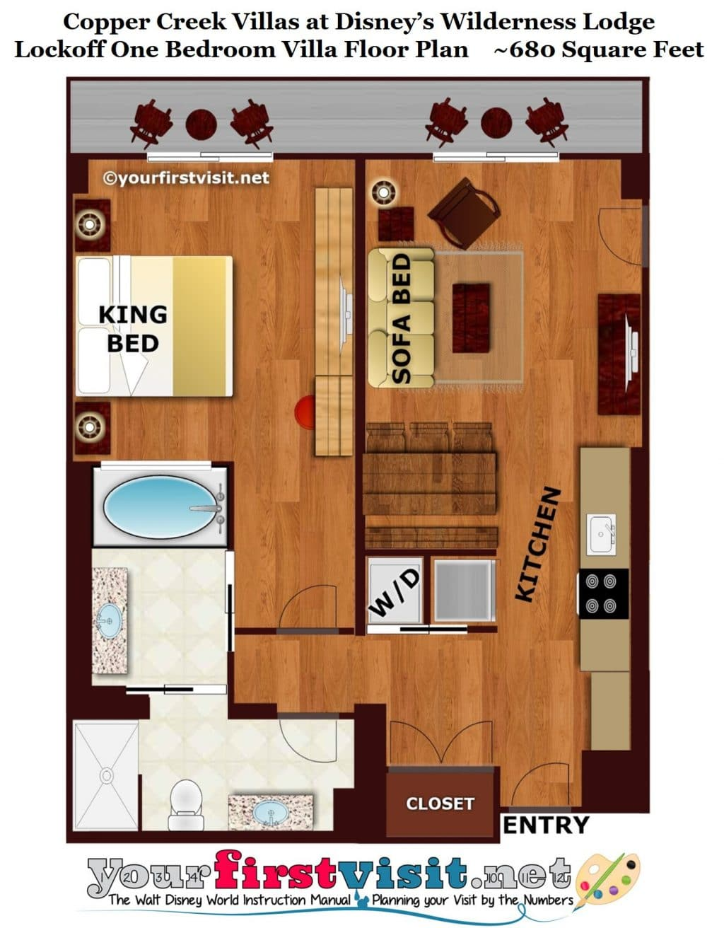 Theming and accommodations at copper creek villas at for 1 bedroom plan