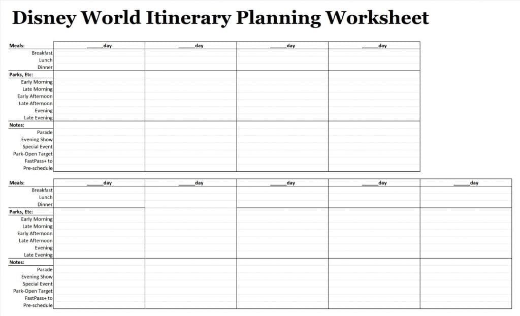 worksheet Mouse Party Worksheet easy guide easywdw 122 itinerary planning worksheet excel version
