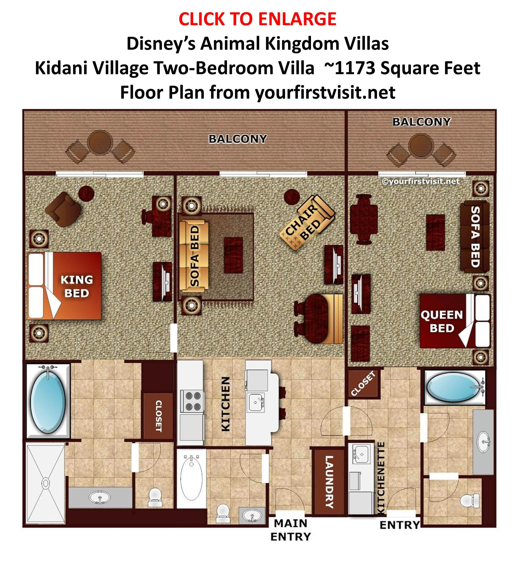 The pros and cons of the disney vacation club resorts by someone disneys kidani village two bedroom villa floor plan from yourfisrtvisit sciox Image collections