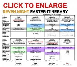 Seven Night Disney World Easter Itinerary